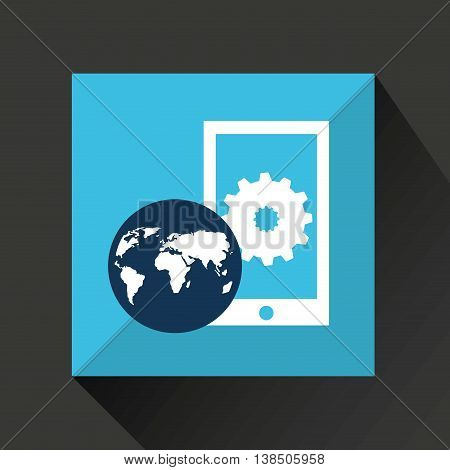 smarphone in a world map icon, vector illustration