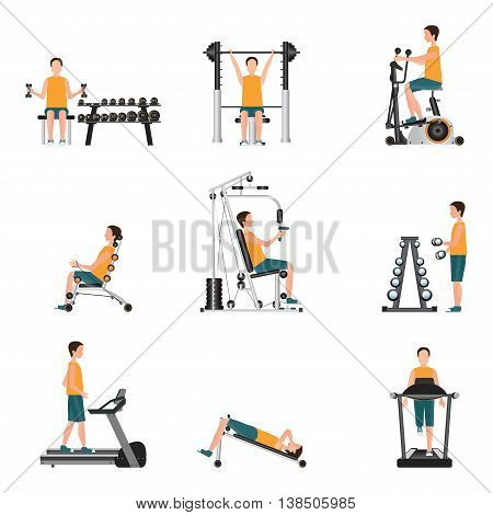 Fitness cardio exercise and equipment with young man isolated on white background gymnasium sport fitness athletics healthy lifestylecharacter Vector illustration.