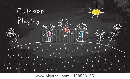 Children, group of kids, playing together outdoors in park. Chalk on blackboard vector illustration, doodle, hand drawn sketch, scribble.