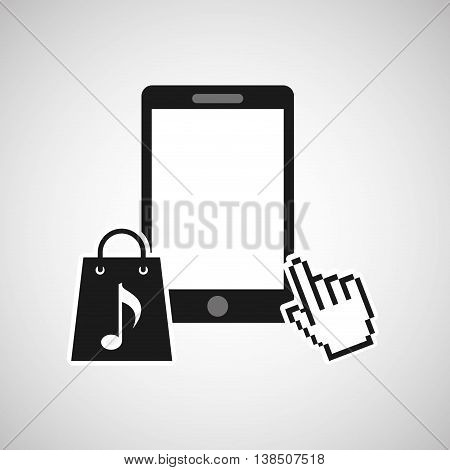 mouse pointer phone with shopping bag icon