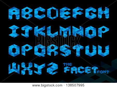 Vector of stylized polygonal font and alphabet