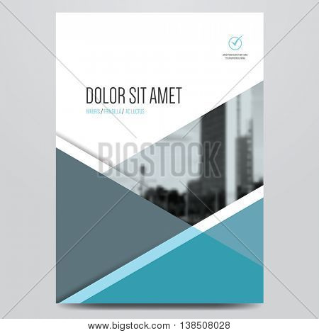 Geometric business brochure, flyer, poster, annual report, magazine cover vector template. Modern blue and grey corporate flat design.