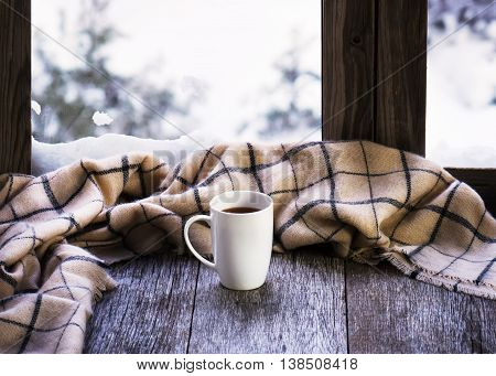 White Cup Of Coffee Or Tea On Stylized Wooden Window Sill.
