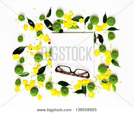 Glasses And Paper With Pattern From Petals.