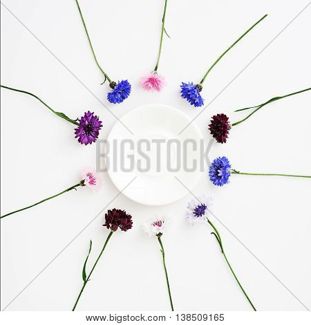 Plate With Pattern From Petals Of Wildflowers.