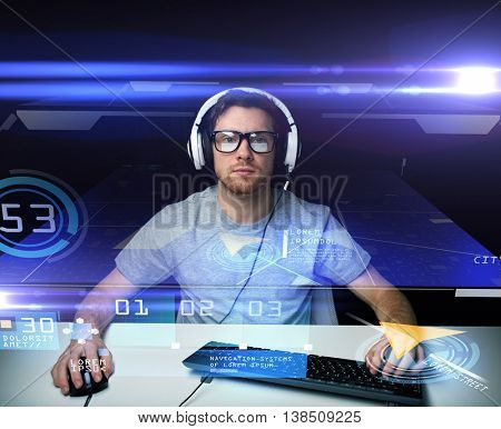 technology, navigation, location and people concept - young man in headset and eyeglasses with pc computer keyboard and gps navigator virtual map