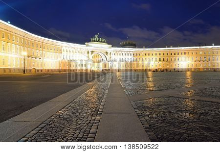 The General Staff building - a historic building is located on the Palace Square in St. Petersburg Russia.