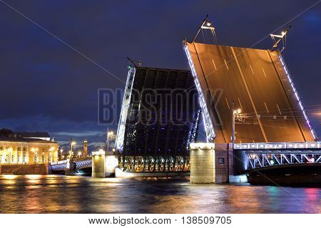 Palace Bridge and Neva River at night in St.Petersburg Russia.