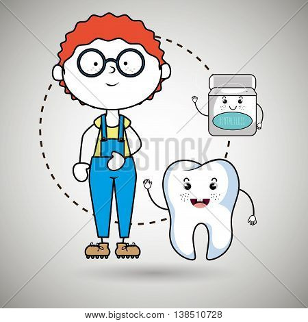 boy with tooth and mouthwash isolated icon design, vector illustration  graphic