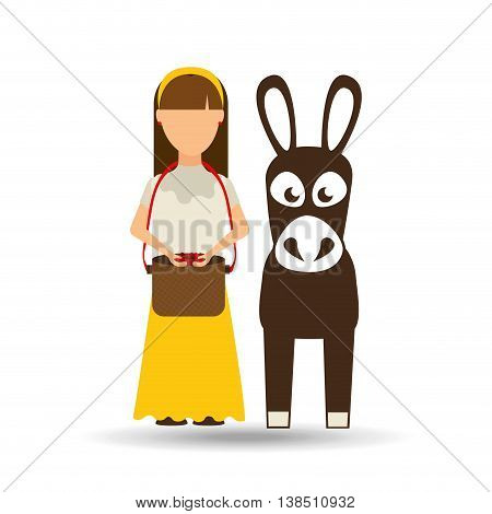 colombian farmer with donkey icon, vector illustration