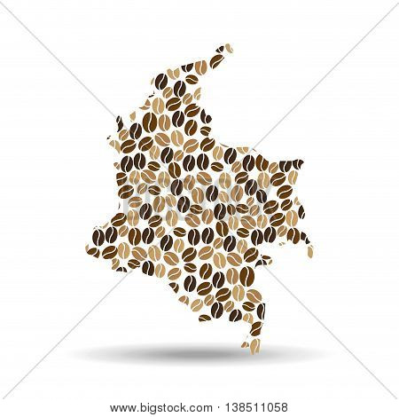 colombia made of coffee bean icon, vector illustration