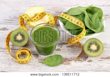 Ingredients, Fresh Cocktail From Spinach And Centimeter On Wooden Background, Healthy Nutrition And