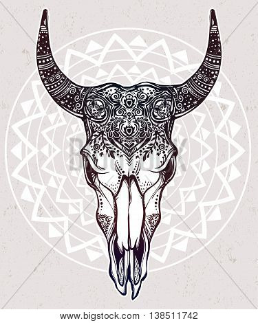 Hand drawn romantic ornate beautiful decorative bull skull. Spiritual native indian navajo art. Vector illustration isolated. Ethnic design, mystic tribal boho tattoo or festival symbol for your use.