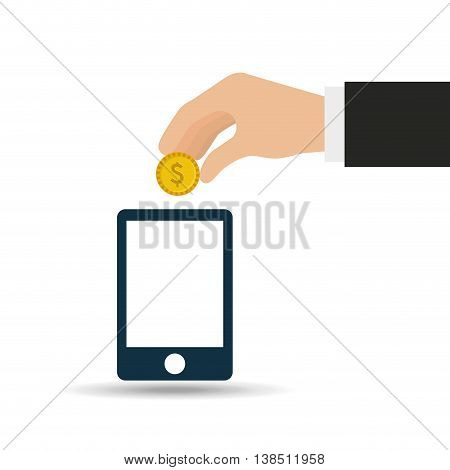 hand putting coin on smarphone, vector illustration