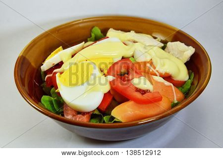 egg and chicken salad dressing mayonnaise in bowl