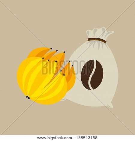 bananas and coffee bean icon, vector illustration