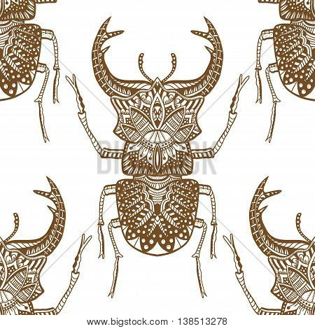 Monochrome Hand drawn seamless pattern with deer beetle. Brown and white vector illustration