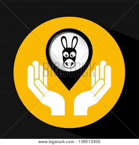 donkey animal in black color icon, vector illustration