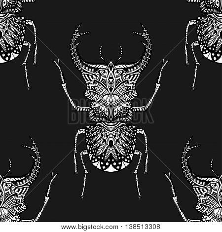 Monochrome Hand drawn seamless pattern with deer beetle. Black and white vector illustration