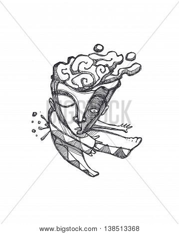 Hand drawn illustration or drawing of an abstract distorted man with his brain out and with a bullet shot