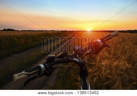 Mountain bike in field at sunset travel