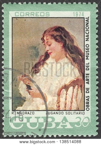 MOSCOW, RUSSIA - CIRCA FEBRUARY, 2016: a post stamp printed in CUBA shows painting by Madrazo, the series