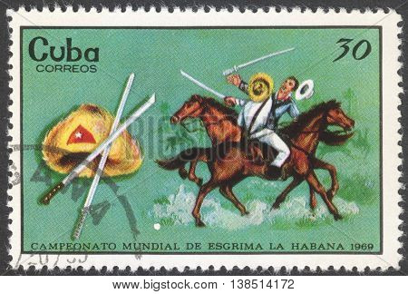 MOSCOW RUSSIA - CIRCA FEBRUARY 2016: a post stamp printed in CUBA shows fencing the series