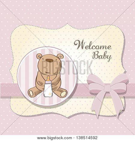 Baby Girl Shower Card With Little  Teddy Bear