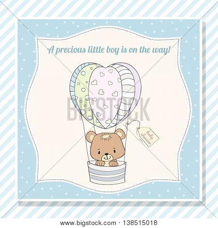 Baby Boy Shower Card With Teddy Bear