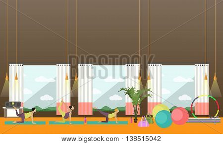 Pregnant women are doing exercise and yoga in fitness center. Gym interior vector illustration. Pregnant woman fitness banners.