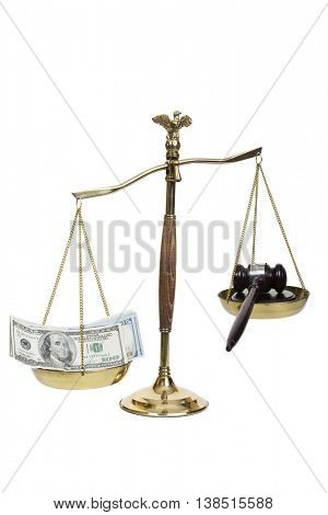 Golden scales of justice, gavel and money on a white background