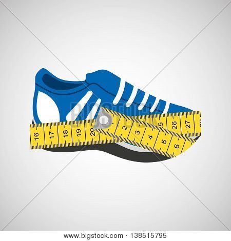 shoes surrounded by tape measure, healthy life style, vector illustration