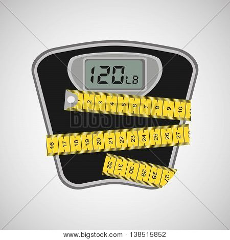 weighing machine surrounded by tape measure, healthy life style, vector illustration