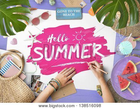 Hello Summer Beach Vacation Concept