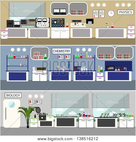 Laboratory vector illustration. Science lab interior. Biology, Physics and Chemistry education concept. Scientific equipment and tools.