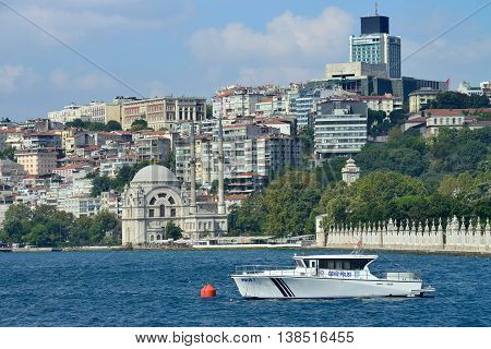 ISTANBUL - AUGUST 8: Bosphorus coast, August 8, 2013 in Istanbul, Turkey. The Bosphorus, also known as the Istanbul Strait, is a strait that forms part of the boundary between Europe and Asia