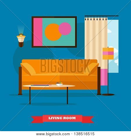 Living room interior in flat style. Vector illustration with furniture, sofa, table, window, lamp. Design elements and icons.
