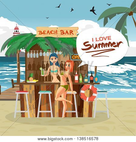 Bar bungalows with bartender and visitor woman on the beach ocean coast. Vector flat cartoon illustration. Summer vacation in a tropical landscape