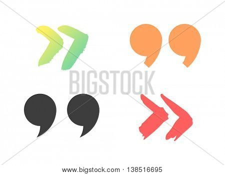 Quote sign vector set.