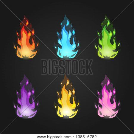 Set vector magic fire in different colors. Game design illustration.