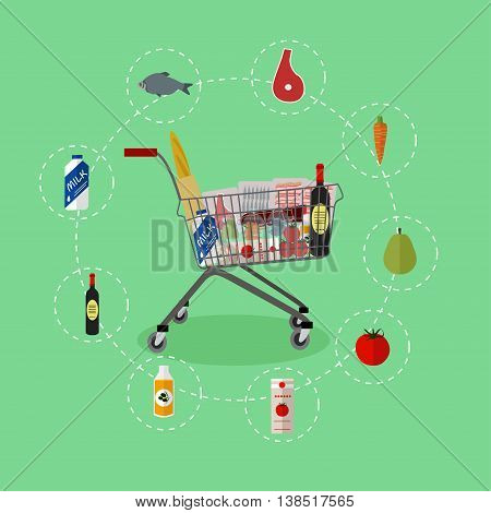 Supermarket shopping trolley cart with grocery products. Vector illustration in flat style. Food icons and design elements.