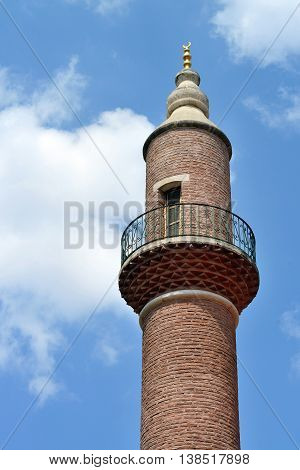 Minaret of mosque in Istanbul city, Turkey