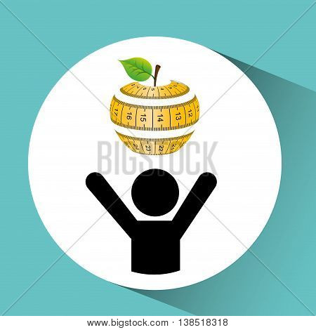 apple and tape measure, healthy life style, vector illustration