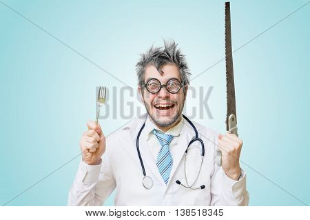 Funny Wacky Crazy Surgeon Doctor Holds Unusual Surgical Instrume