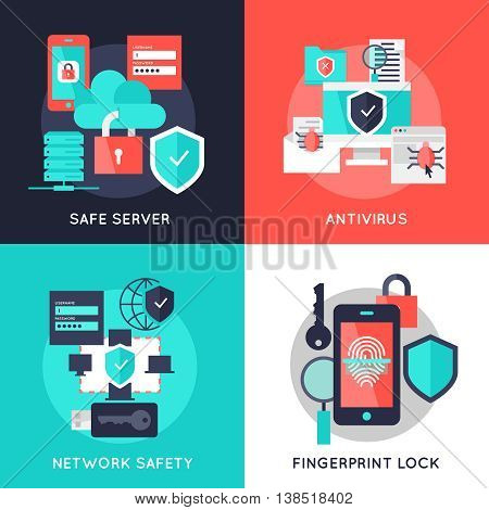 Data protection flat compositions with safe server antivirus secure network fingerprint lock isolated vector illustration
