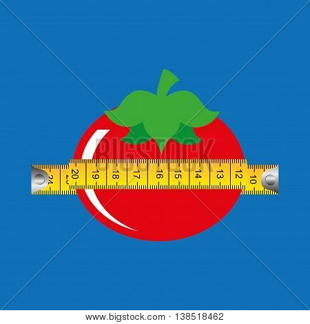 tomato surrounded by tape measure, healthy life style, vector illustration