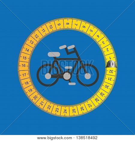 bicycle surrounded by tape measure, healthy life style, vector illustration
