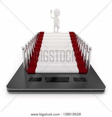 3D Mobile Phone And A White Character Waving Hand While Standing On Carpet With Stanchions On Mobile
