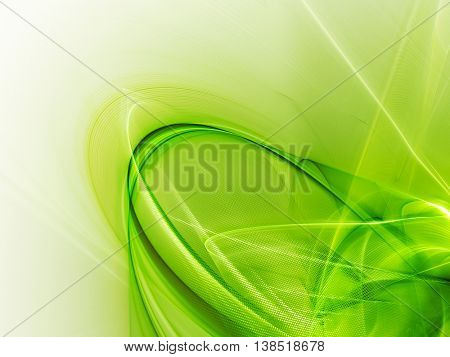 Abstract background element. Fractal graphics series. Three-dimensional composition of glowing lines and halftone effects. Bio and nature concept. Green colors.
