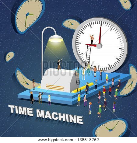 flat 3d isometric design - time machine concept